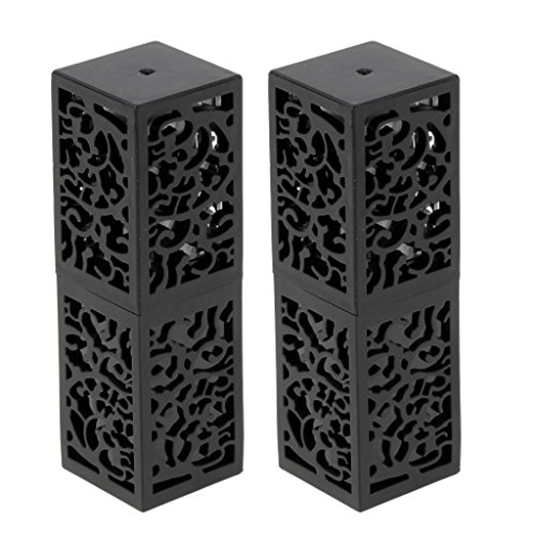 センチメートル因子独裁者T TOOYFUL 2本入り 空チューブ リップスティックチューブ 口紅チューブ リップクリーム 容器 化粧品 全2色 - ブラック