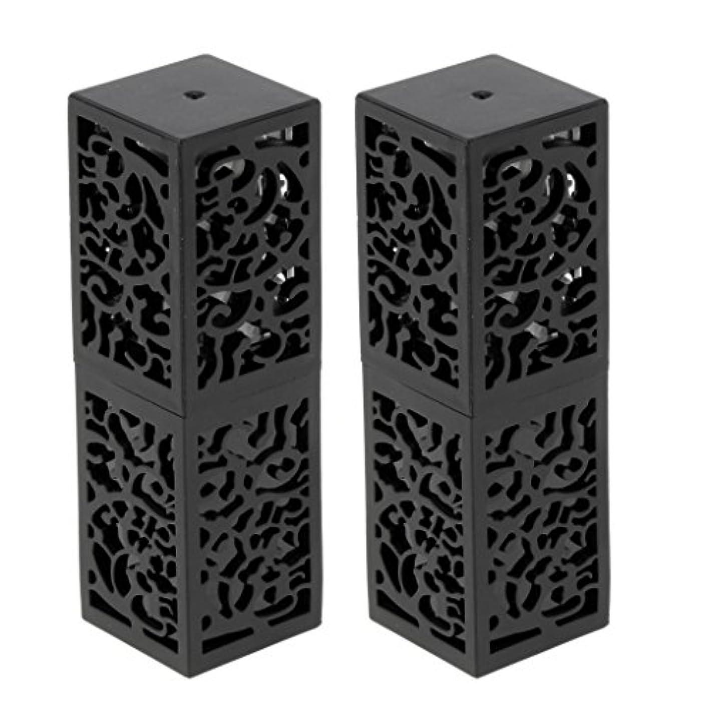 砦器具ふざけた2ピース粘着性空リップクリームスティックチューブ口紅チューブ非毒性、耐熱性、耐久性、再利用可能なファンデーション化粧品ツール - ブラック