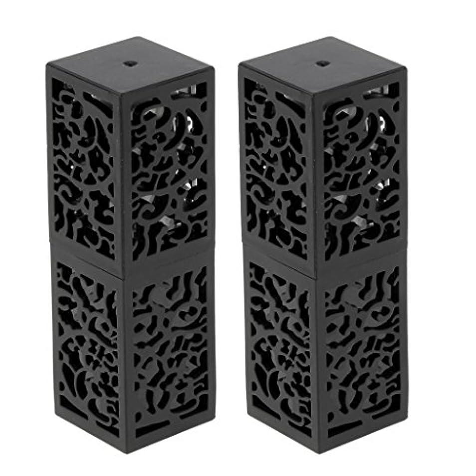 挑む立方体エンジニアリング2ピース粘着性空リップクリームスティックチューブ口紅チューブ非毒性、耐熱性、耐久性、再利用可能なファンデーション化粧品ツール - ブラック
