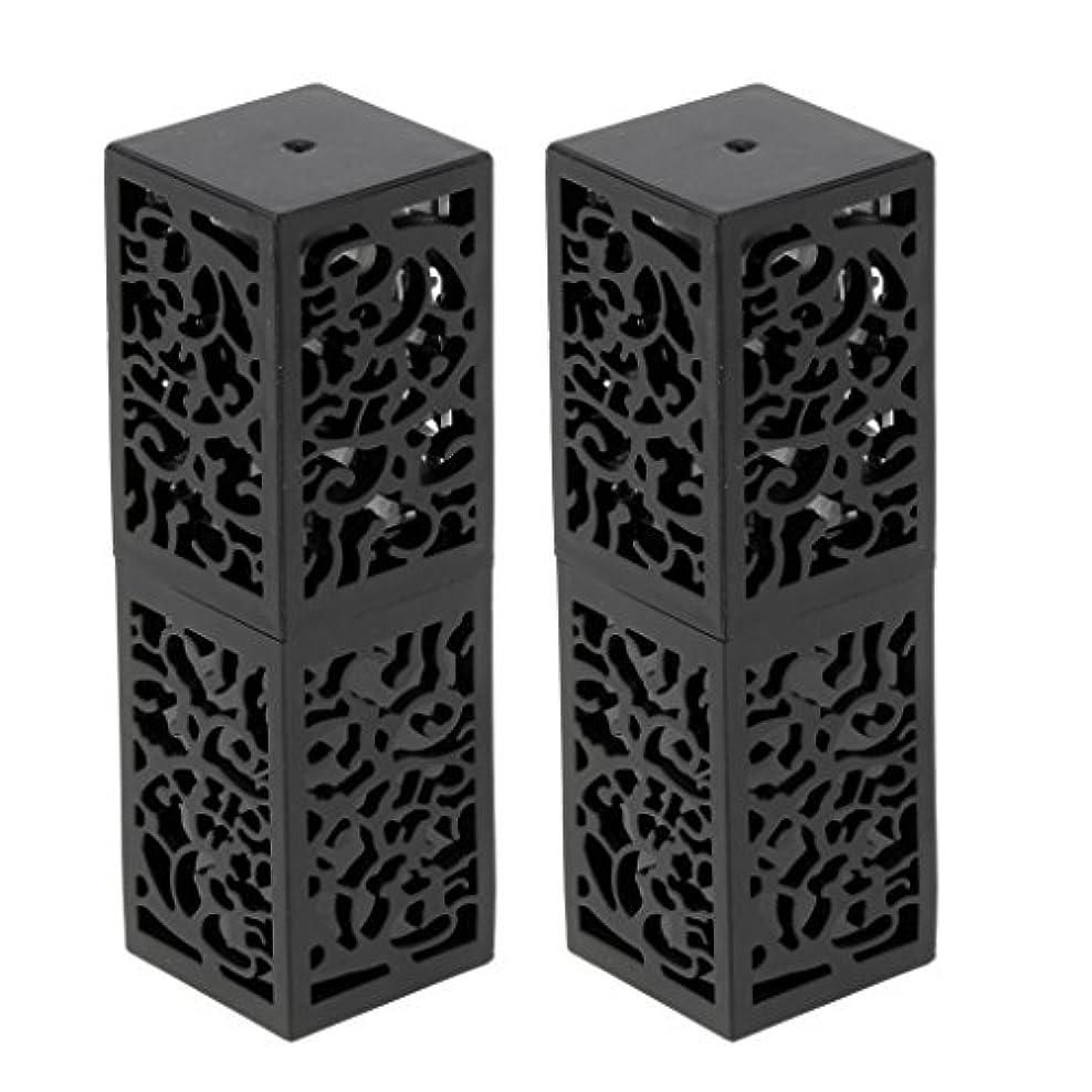 スティーブンソン恐れる枠2ピース粘着性空リップクリームスティックチューブ口紅チューブ非毒性、耐熱性、耐久性、再利用可能なファンデーション化粧品ツール - ブラック