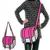 2D 二次元 おもしろい 漫画 絵 のような 3D ショルダー トート ボストン かばん オーメンジョイ ポップでファンキーな平面イラストバッグ (カジュアル トレンド 系) (ピンク)