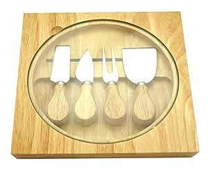 イマジンテーブル ウッディーチーズナイフ 4本セット 木製ケース&ガラスボード付き CW010602
