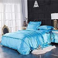 単色 絹のような 掛け布団カバー, 花端 豪華です 掛けふとんカバー, 元に戻せる状態 夏 通気性 羽毛布団掛け布団カバー, ファスナー-青 200X230cm