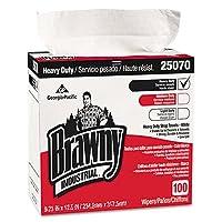 (Medium Duty, Tall Box (500ct), White) - Georgia-Pacific Brawny Industrial 25070 White Medium-Weight HEF Shop Towel (Tall Dispenser Box), 23cm Width x 42cm Length (5 Boxes of 100)