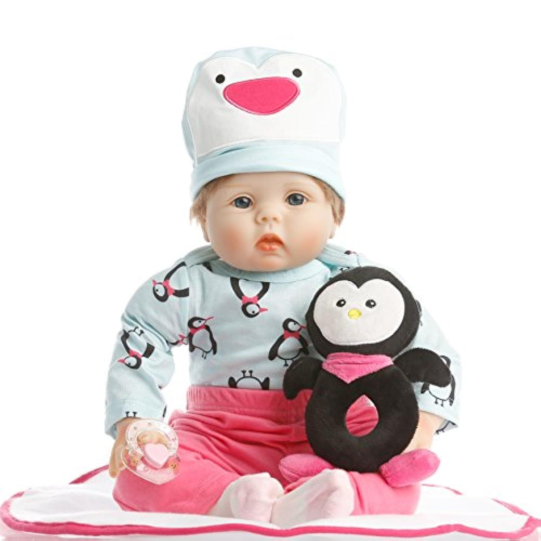 NPK collection Rebornベビー人形リアルな赤ちゃん人形ビニールシリコン赤ちゃん22インチ55 cm人形新生児赤ちゃん人形可愛いペンギンスーツ