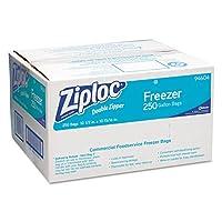 Ziploc 682258 Double-Zipper Freezer Bags, 3.8l 2.7mil, Clear w/Label Panel, 250/Carton
