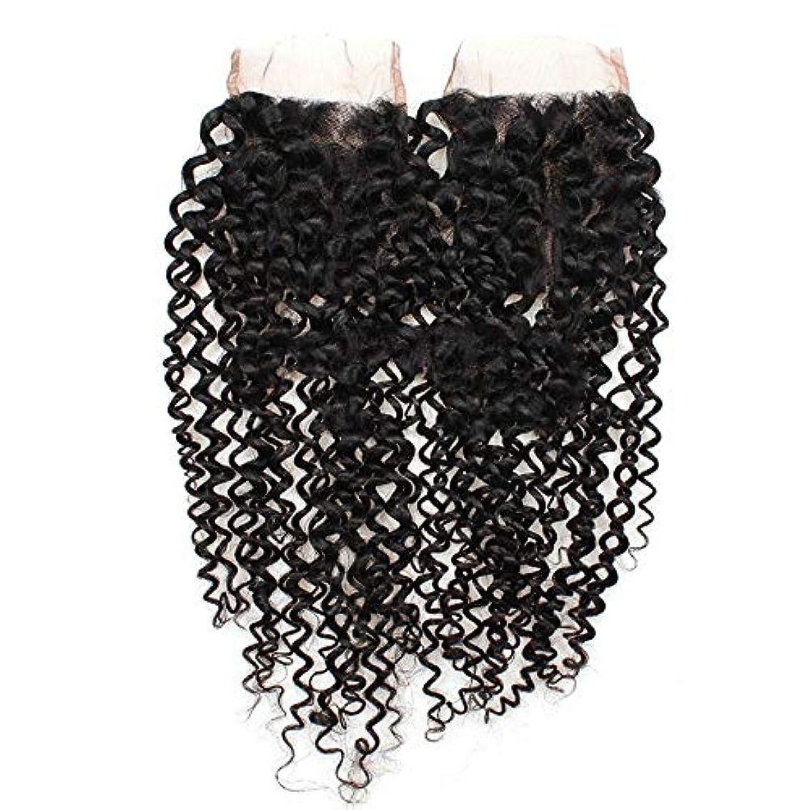 争う第四均等にWASAIO 閉鎖ボディレースフロンタルパート4x4の自然な色8インチ、20インチでは、ブラジルのクリスプカーリー織り人間の髪 (色 : 黒, サイズ : 14 inch)