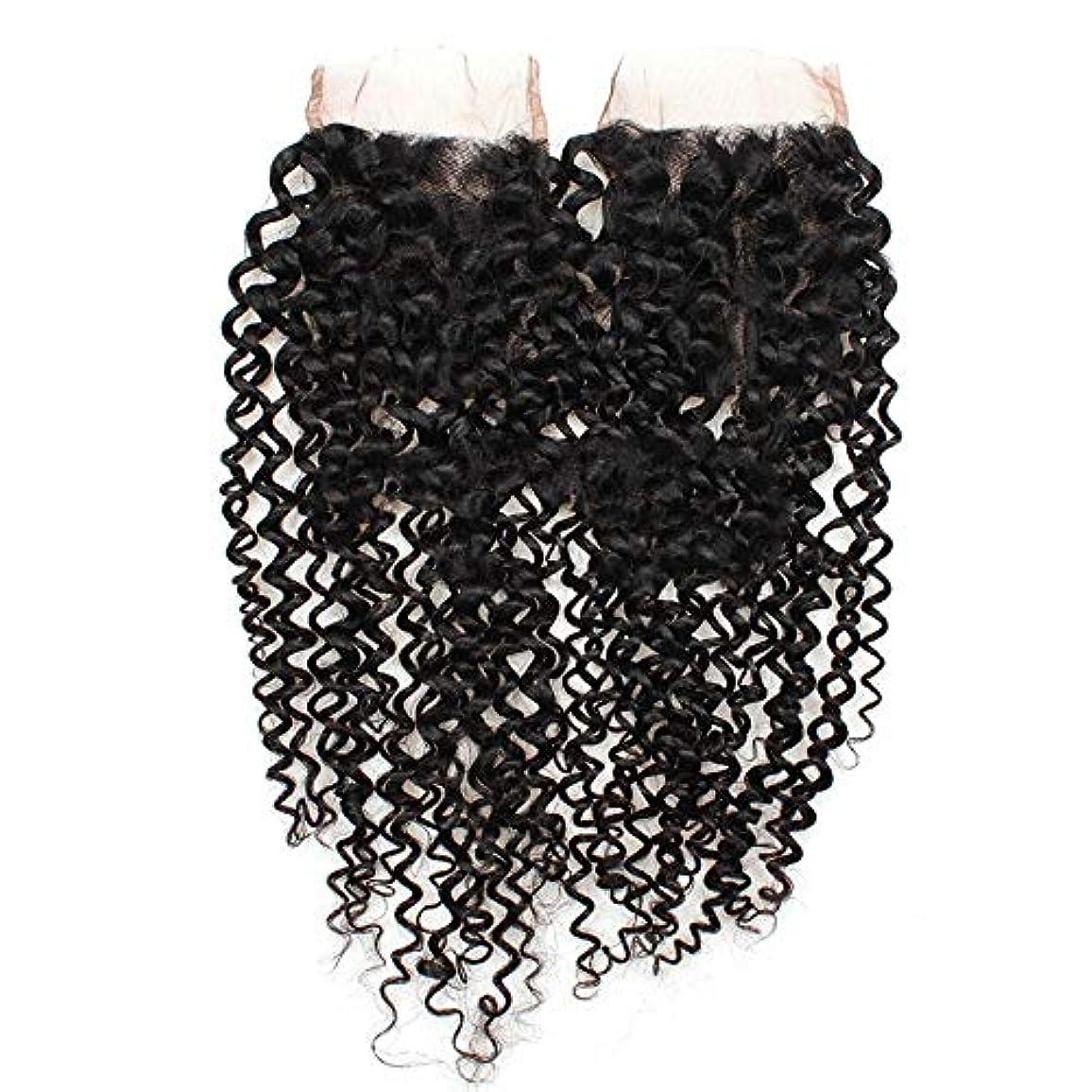 キャビンステートメント呼び出すWASAIO 閉鎖ボディレースフロンタルパート4x4の自然な色8インチ、20インチでは、ブラジルのクリスプカーリー織り人間の髪 (色 : 黒, サイズ : 14 inch)