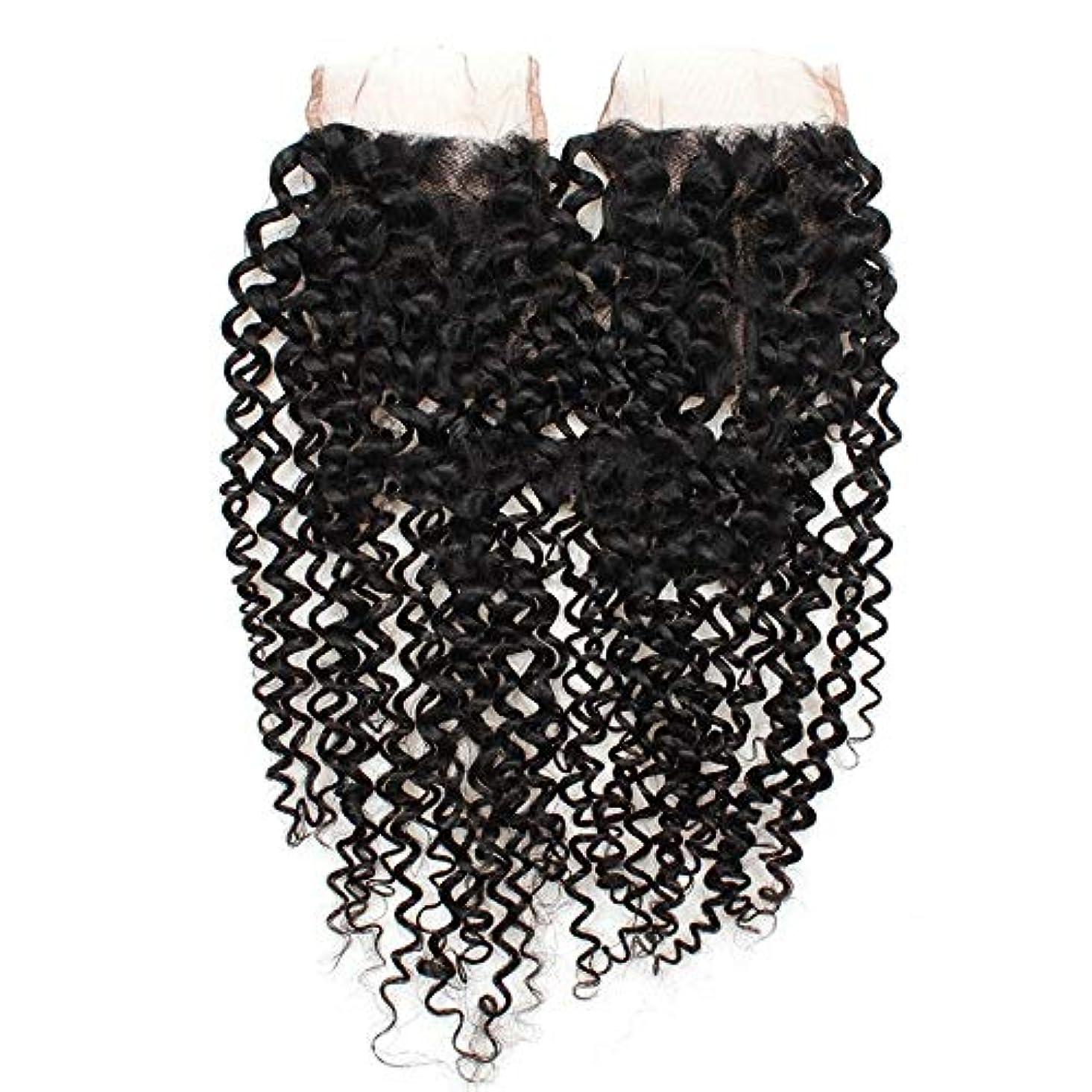 簡単なハンディ講義WASAIO 閉鎖ボディレースフロンタルパート4x4の自然な色8インチ、20インチでは、ブラジルのクリスプカーリー織り人間の髪 (色 : 黒, サイズ : 14 inch)
