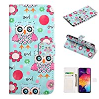 Galaxy M20 Phone Case, Galaxy M20 Case, Abtory 3 Card Slots Colorful PU Leather Folio Wallet with Magnetic Flap and Kickstand Protective Case for Samsung Galaxy M20 Owl