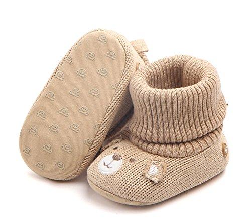 [ホット笑顔] 赤ちゃん 春 秋 可愛い靴 綿布 柔らかい底 滑り止め ベビーシューズ 幼児用 ウールの靴 (12cm(6-9ヶ月), カーキ)