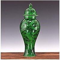 花瓶 セラミック花瓶デスクコーヒーテーブル卓上装飾アンティーク青と白の磁器リビングルームグリーン22 * 6センチメートル (Size : C)