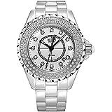 (バオショ)BUREI 腕時計 ホワイトセラミックバンド レディース カレンダー 夜光 女性 ファッション 時計 ホワイト文字盤 シルバーケース