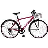 クロスバイク 26インチ カゴ付き 泥除け シマノ6段変速ギア T-MCA266-43-PI VIENTO TOPONE(トップワン)ピンク