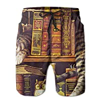 Siyuanawanga ボヘミアン猫 図書 かわいい ショートパンツ ビーチパンツ 水着 海パン アクティブショートパンツ パンツ カジュアル 水陸両用 海水パンツ 夏 速乾 ファッション おしゃれ サーフパンツ