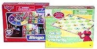 SesameストリートCheckers & ○ ×ゲーム、DisneyピクサーCars Bingoボードゲームセット