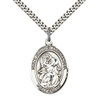 "F A Dumont Sterling Silver St. Gabriel The Archangel Pendant with 24"" Stainless Steel Heavy Curb Chain. Patron Saint of Messengers"