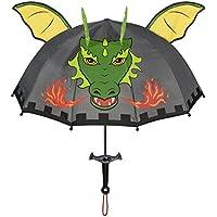 Kidorable Dragon Knight Grey Umbrella for Boys w/Fun Sword Handle, Pop-Up Dragon Wings