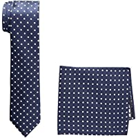 BUCKLE 1922 Men's Spotted Tie with Matching Pocket Square