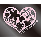 nc-smile ハワイアン ハートステッカー I LOVE HAWAII 140mm×180mm サーモンピンク