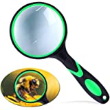 Magnifying Glass 10X Handheld Reading Magnifier, 65mm Thicker Magnifying Glass Lens Magnifier Lens with Rubbery Frame Non-Sli