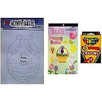 イースターカラーリングアクティビティキットfor Kids – 3 Piece Bundle – 1 30個パックカラーリングandアクティビティシートwith Bunnies and Baby Chicks、ステッカーBook with 508 Easter andスプリングテーマステッカーと24クレヨン