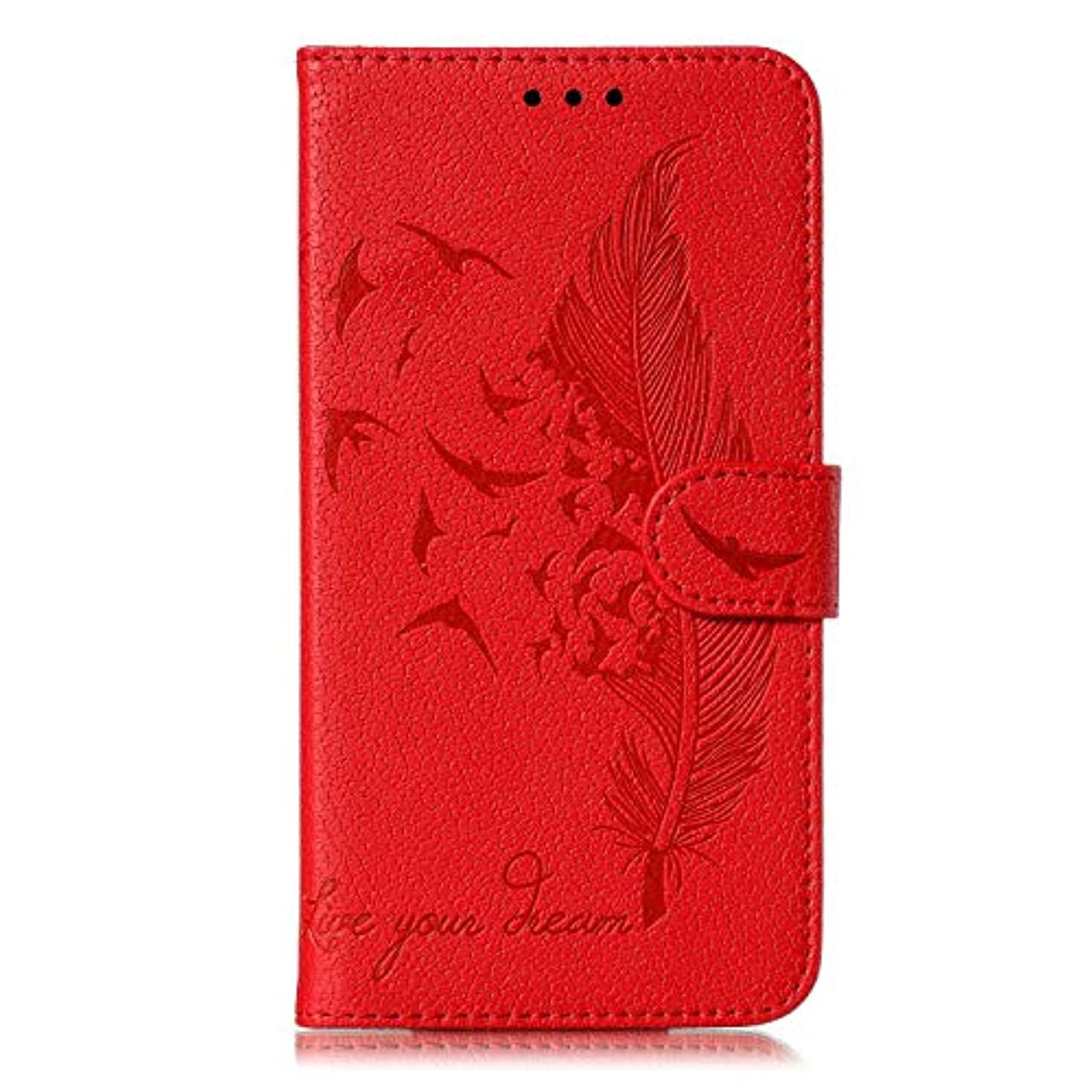 ゴルフ美的道徳Galaxy A70 ケース, OMATENTI PUレザー手帳型 ケース, 薄型 財布押し花 フェザー柄 スマホケース, マグネット開閉式 スタンド機能 カード収納 付き人気 新品, 赤