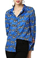 Fly Year-JP Womens Casual Long Sleeve Shirts Paisley Printed Button Down Blouses Tops Blue XS