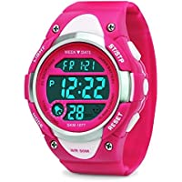 Digital Watches for Girls Gifts - Kids Outdoor Sports Watch with LED Backlight, 5 ATM Waterproof Childrens Sport Electronic Wrist Watches with Alarm Clock Week Chronograph for Teenagers