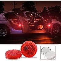 RCP LED車用点滅警告灯 ドアレーザーライト カーテシランプ 追突防止 レッド発光 マグネットセンサー 3V電池入り 貼り付けタイプ 2個セット