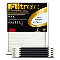 (6-Pack, 16 x 20 x 1) - Filtrete MPR 2200 16 x 20 x 1 Healthy Living Elite Allergen Reduction AC Furnace Air Filter, Delivers Cleaner Air Throughout Your Home, 6-pack