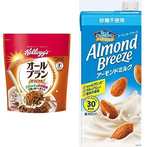 【セット買い】[トクホ] ケロッグ オールブラン 徳用袋 400g×6袋 + アーモンド・ブリーズ 砂糖不使用 1L×6本