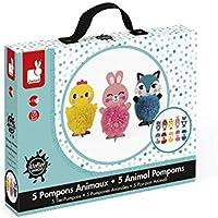 Janod 5 Animal Pompoms Playset [並行輸入品]