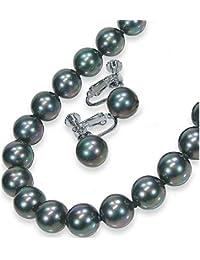 黒真珠ネックレスイヤリングセット10mm?ピーコック系カラー/黒蝶貝パール10.0ミリアップ45センチサイズ<日本製>