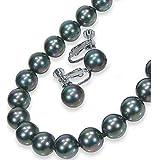 黒真珠ネックレスイヤリングセット10mm・ピーコック系カラー/黒蝶貝パール10.0ミリアップ45センチサイズ<日本製>