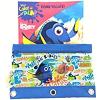 Disney Finding Dory & Nemo Colouring Activity Book Plus 3 Rings Pencil Case/Holder- 2 Packs