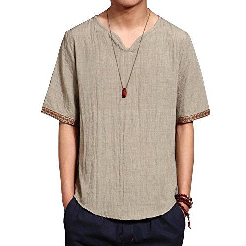 Macoking tシャツ メンズ 夏服 麻製 リネン 和色 カジュアル vネック 純色 半袖 シンプル 刺繍 デザイン 透気 涼しい 素色 XXL