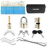 TAKRINK 35 Pcs Lock Pick Set Lock Picking Kit with 3 Transparent Practice Training Padlock 7 Keys and a Carrying Bag