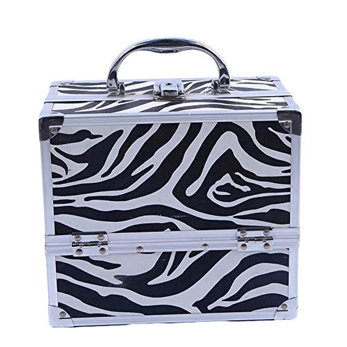 化粧オーガナイザーバッグ ゼブラストライプトラベルアクセサリーのポータブル化粧ケースシャンプーボディウォッシュパーソナルアイテムロックとトレイ付きの収納 化粧品ケース