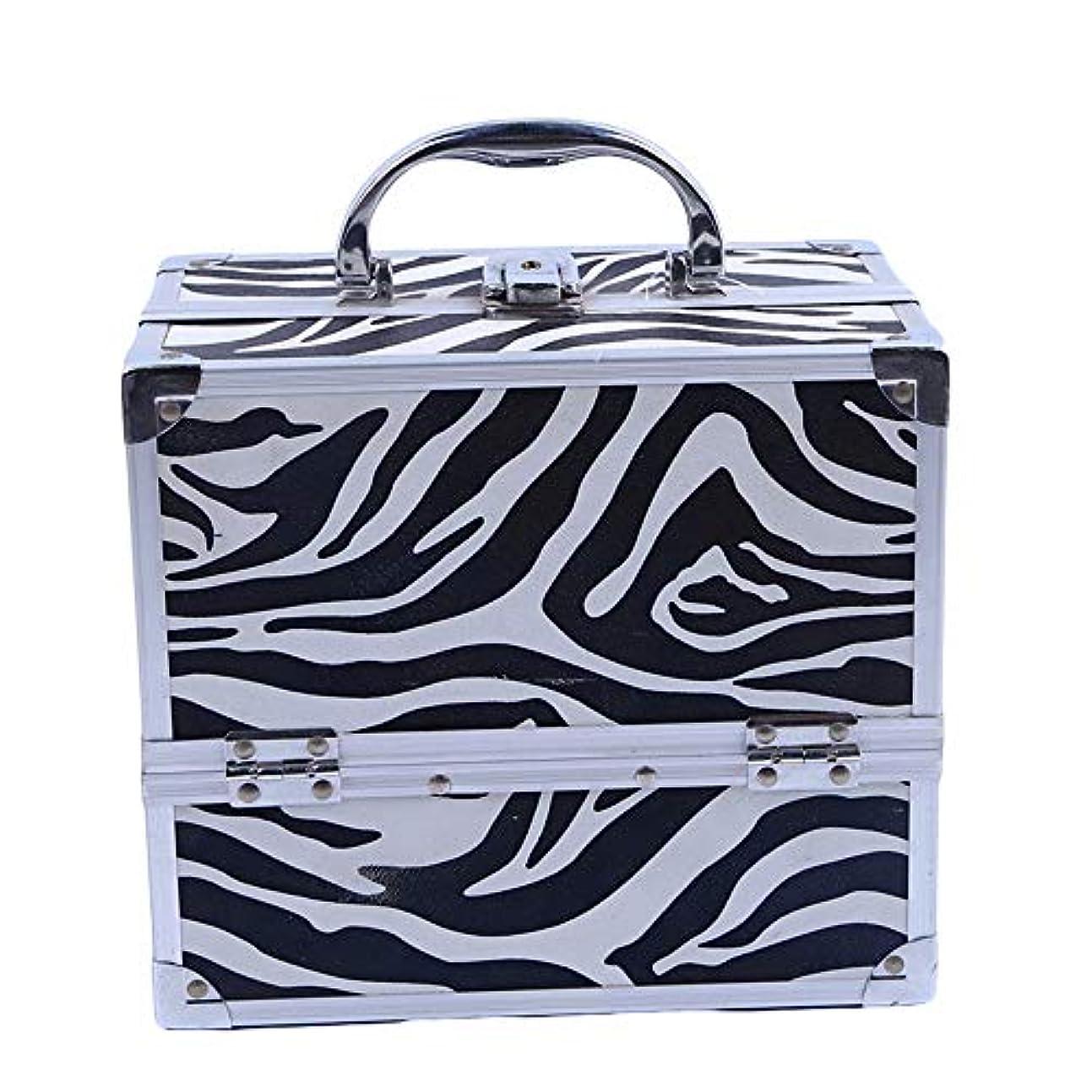 問い合わせ下着容疑者化粧オーガナイザーバッグ ゼブラストライプトラベルアクセサリーのポータブル化粧ケースシャンプーボディウォッシュパーソナルアイテムロックとトレイ付きの収納 化粧品ケース