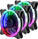 Novonest 120mmPCケースファンLEDリング搭載 静音タイプ 25mm厚(3本)