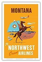モンタナ - 飛行 ノースウエスト・オリエント航空 - 馬に乗ってカウボーイ - ビンテージな航空会社のポスター c.1950s - アートポスター - 31cm x 46cm