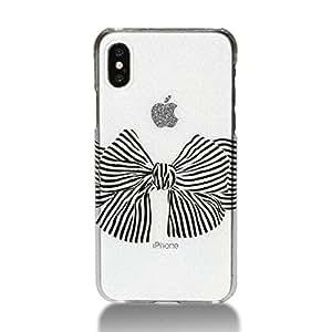 MRLab iPhoneXSケース iPhoneX ケース アイフォンテンケース おしゃれ キラキラ シンプル リボン 黒 751