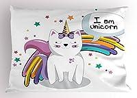 """ユニコーンCat Pillow Sham by Ambesonne、フェアリー動物with IceクリームCone Bow Stars and Rainbow Kids想像力Fiction、装飾標準Kingサイズプリント枕カバー、マルチカラー 26"""" W By 20"""" L pil_41256_26x20"""