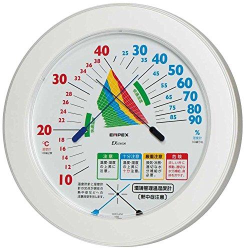 エンペックス気象計 温度湿度計 環境管理温湿度計 【熱中症注意】 壁掛け用 日本製 ホワイト TM-2482