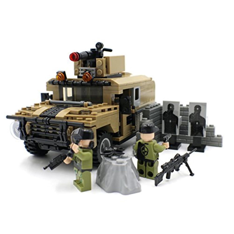 機械銃と軍用装甲車 - 軍用ビルブロック玩具