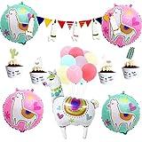 Llama パーティーデコレーション ラマサボテン カップケーキトッパー アルパカ風船 ラマテーマ ベビーシャワー 誕生日パーティー用品