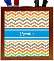 Rikki Knight Quentin Blue Chevron Name Design 5-Inch Wooden Tile Pen Holder (RK-PH5478) [並行輸入品]