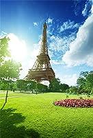 ofila Eiffel Tower背景5x 7ft明るいサンシャインブルースカイ雲グリーンTrees Grass Land花パリテーマパーティー公園レジャー観光ウェディング写真イベント子供キッズ幼児Shootsビデオ小道具