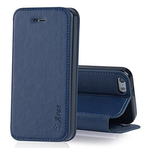 【Arae】iPhone 5 / 5s / se ケース 手帳型 シンプル「 スタンド機能 カードポッケト 財布型 落下防止 衝撃吸収」人気 おしゃれ おすすめ アイフォン 5 / 5s / se 手帳型 ケース 高級感PU レザー カバー (iPhone5/5s/se , ダークブルー)
